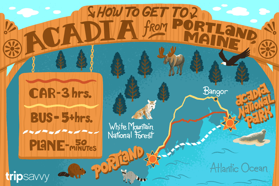 Illustrated map of the main coast showing three routes to go from Portland, Maine to Acadia National Park
