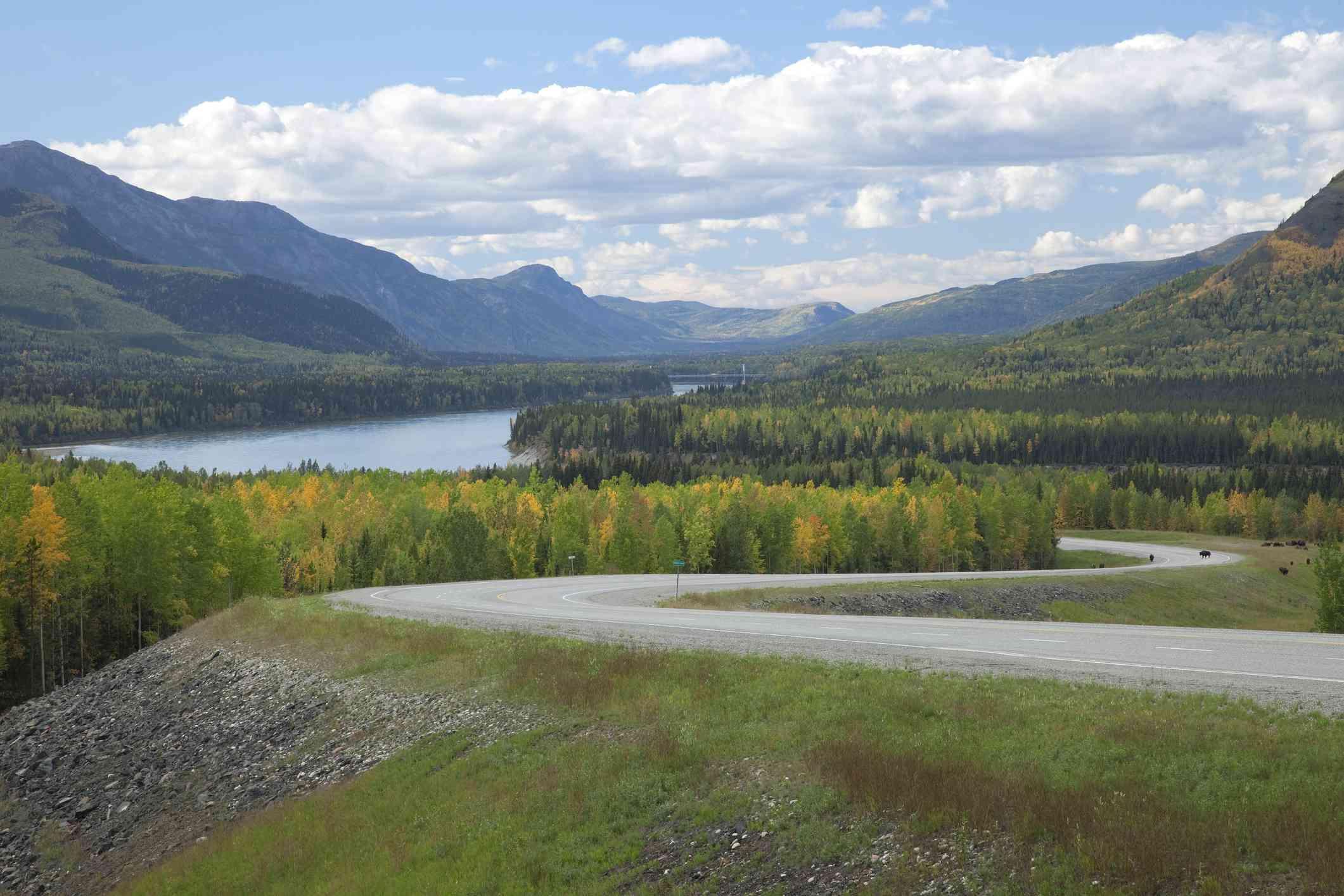 The Alaskan Highway at the Liard River, British Columbia
