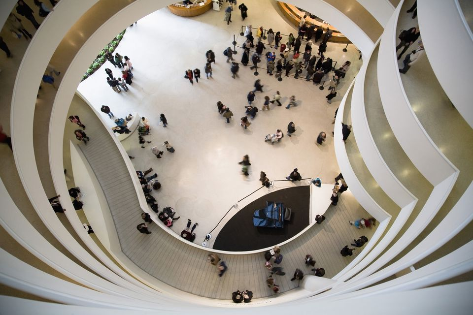 View of the Guggenheim Museum lobby from the top of the spiral
