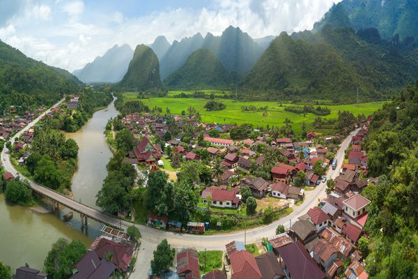 An aerial view of river and mountains near Vang Vieng, Laos