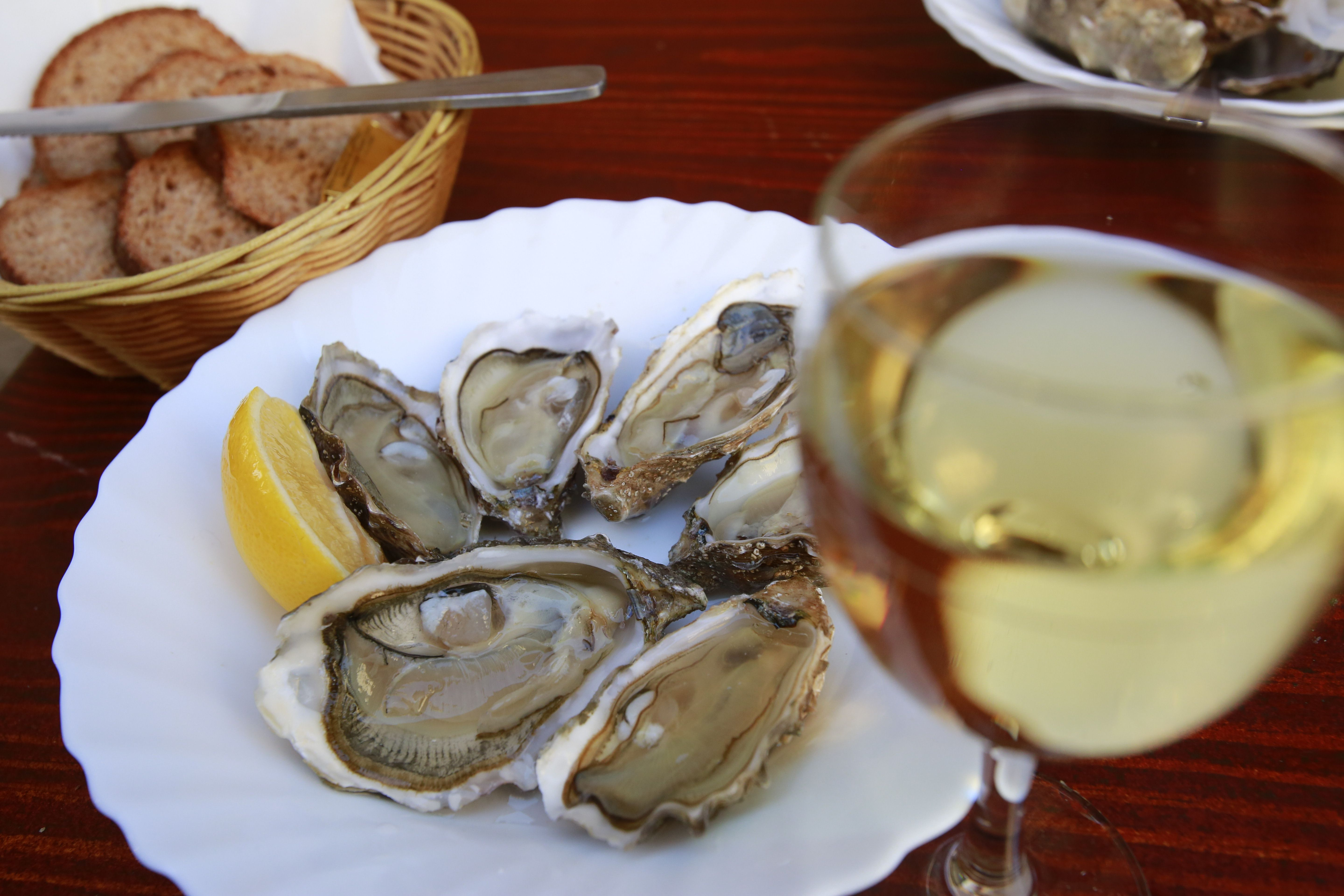 Wine and oysters on the half-shell at Le Baron Rouge, Paris