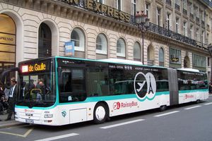 The Roissybus line headed for CDG airport departs from the American Express office in Paris, across from the Opera Garnier.