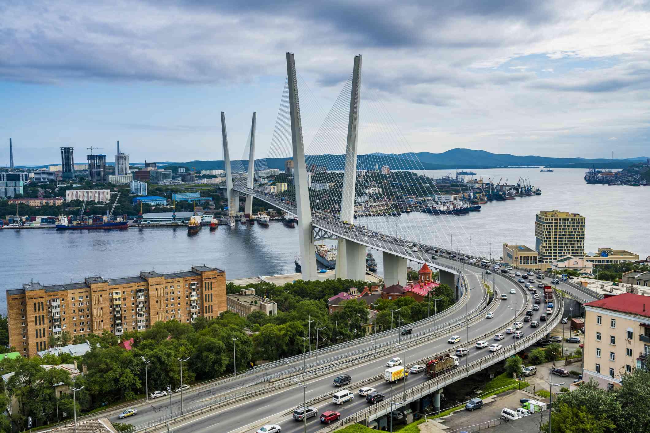 Overlook over Vladivostok and the new Zolotoy Bridge from Eagle's Nest Mount, Vladivostok, Russia