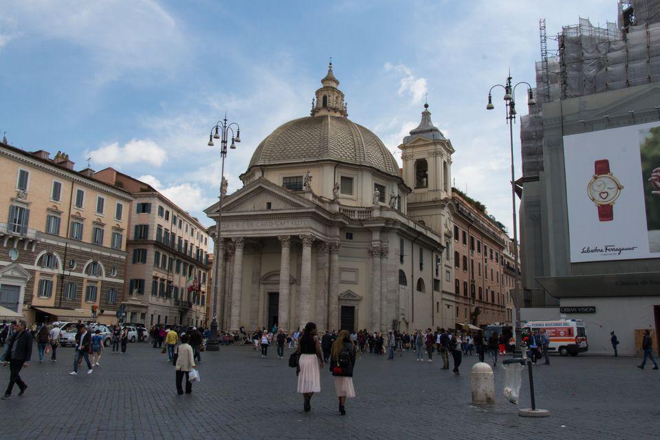Santa Maria in Montesanto church on Piazza del Popolo, Rome, Italy.