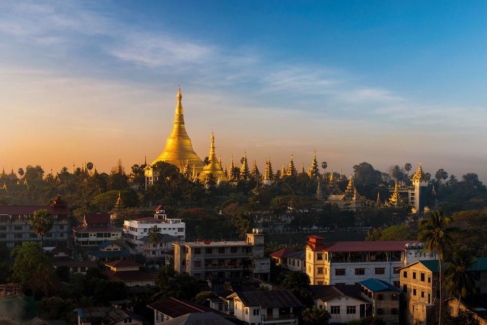 view of Shwedagon Pagoda in Yangon, Myanmar.