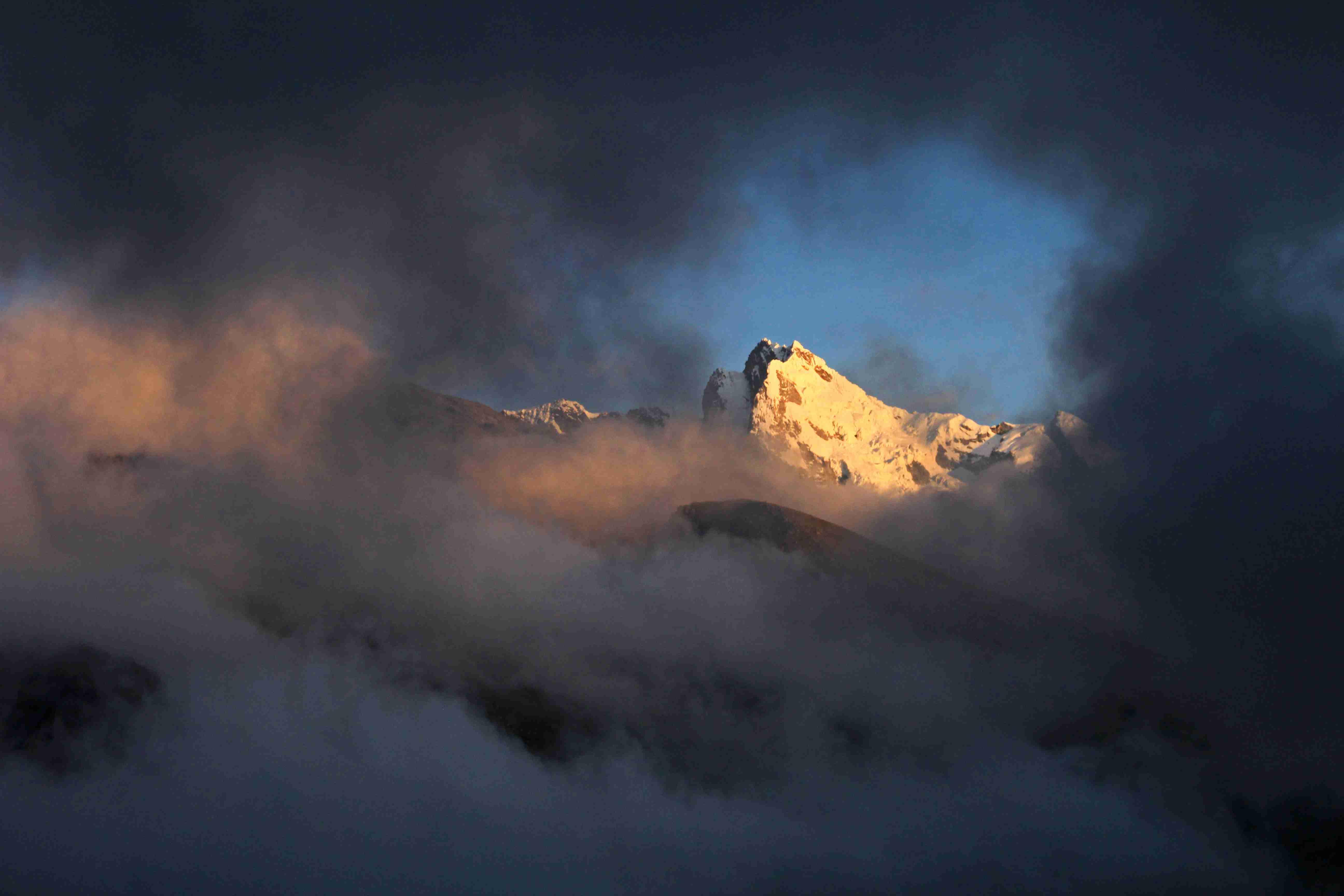 Huantsan mountain peak in the peruvian Cordillera Blanca