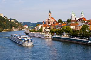 European river cruise ship on the Danube in Passau, Germany