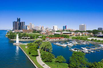William G. Milliken State Park and Harbor Detroit Michigan Aerial view