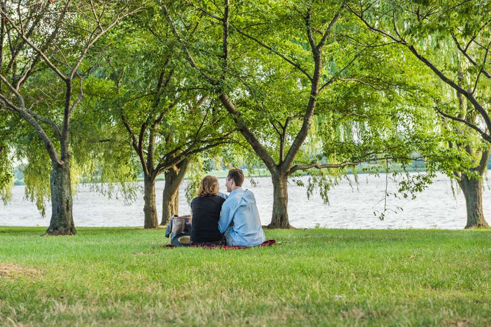 Romantic couple having a picnic by the Potomac River