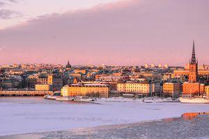 Winter sunset Stockholm skyline
