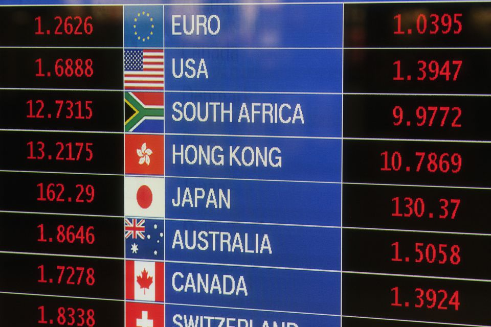 Digital board displaying International exchange rates