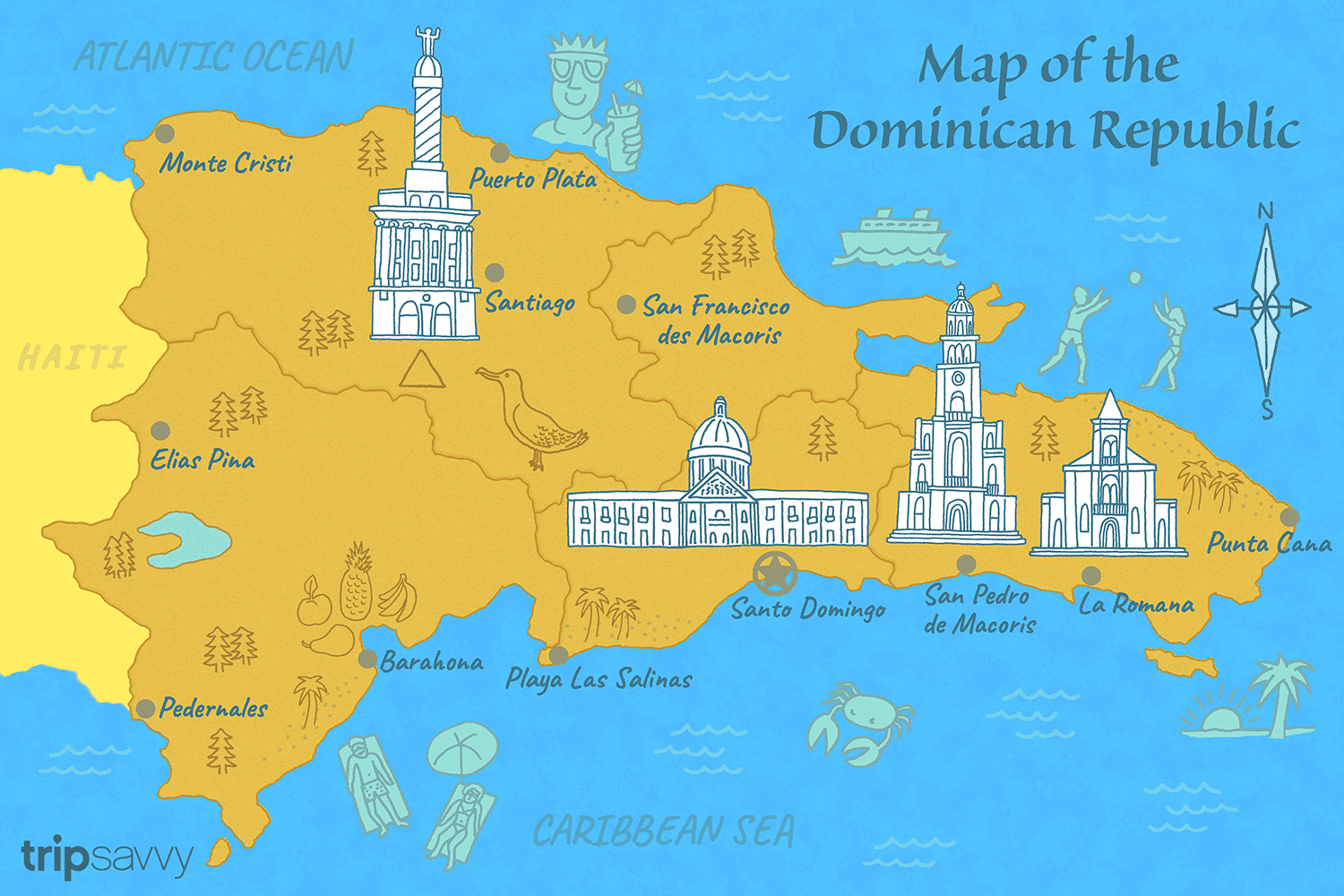 Illustrated Map of the Dominican Republic