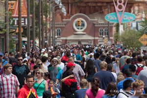 Crowd of people at Disney California Adventure