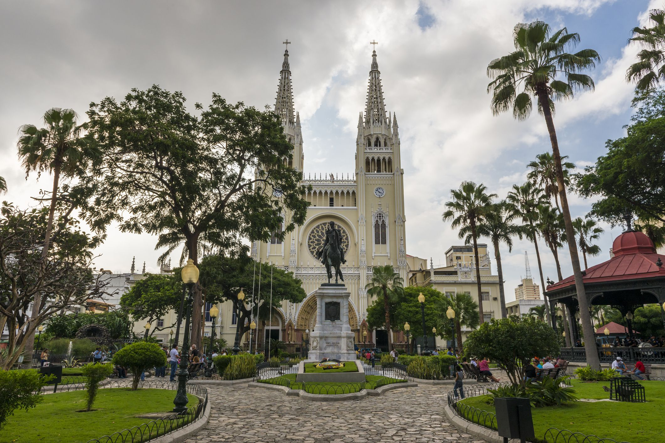 View of Parque Bolivar (Bolivar Square) in the city of Guayaquil in Ecuador