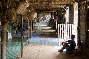 The interior of an Iban longhouse in Sarawak, Borneo