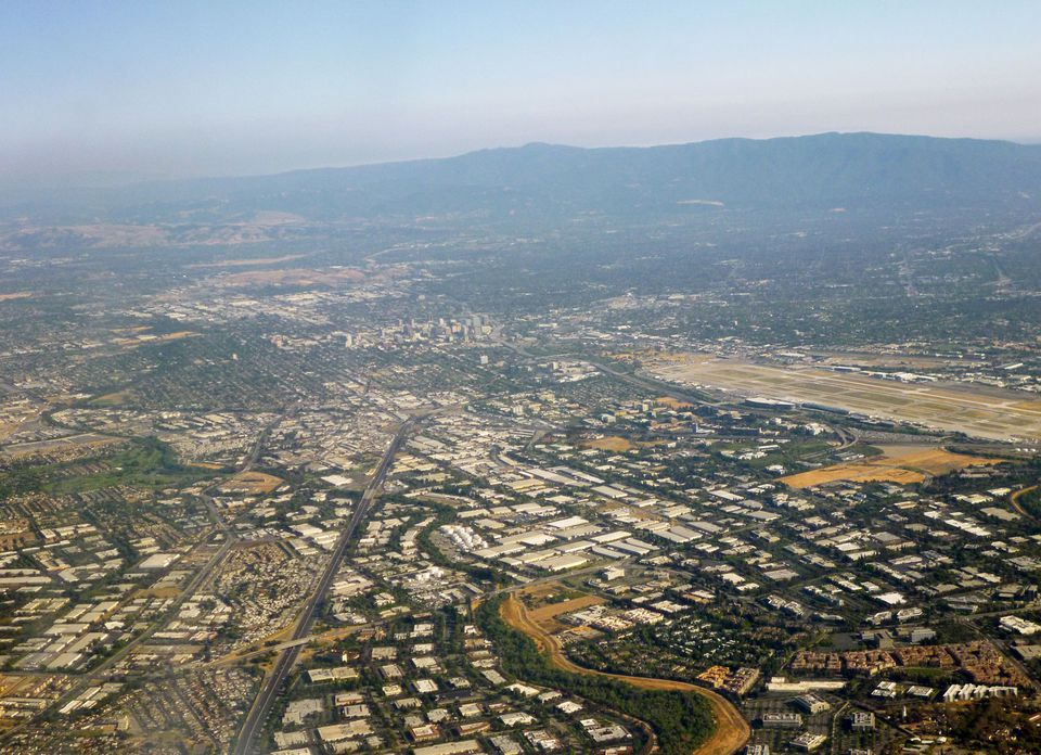 An aerial view of Silicon Valley, California