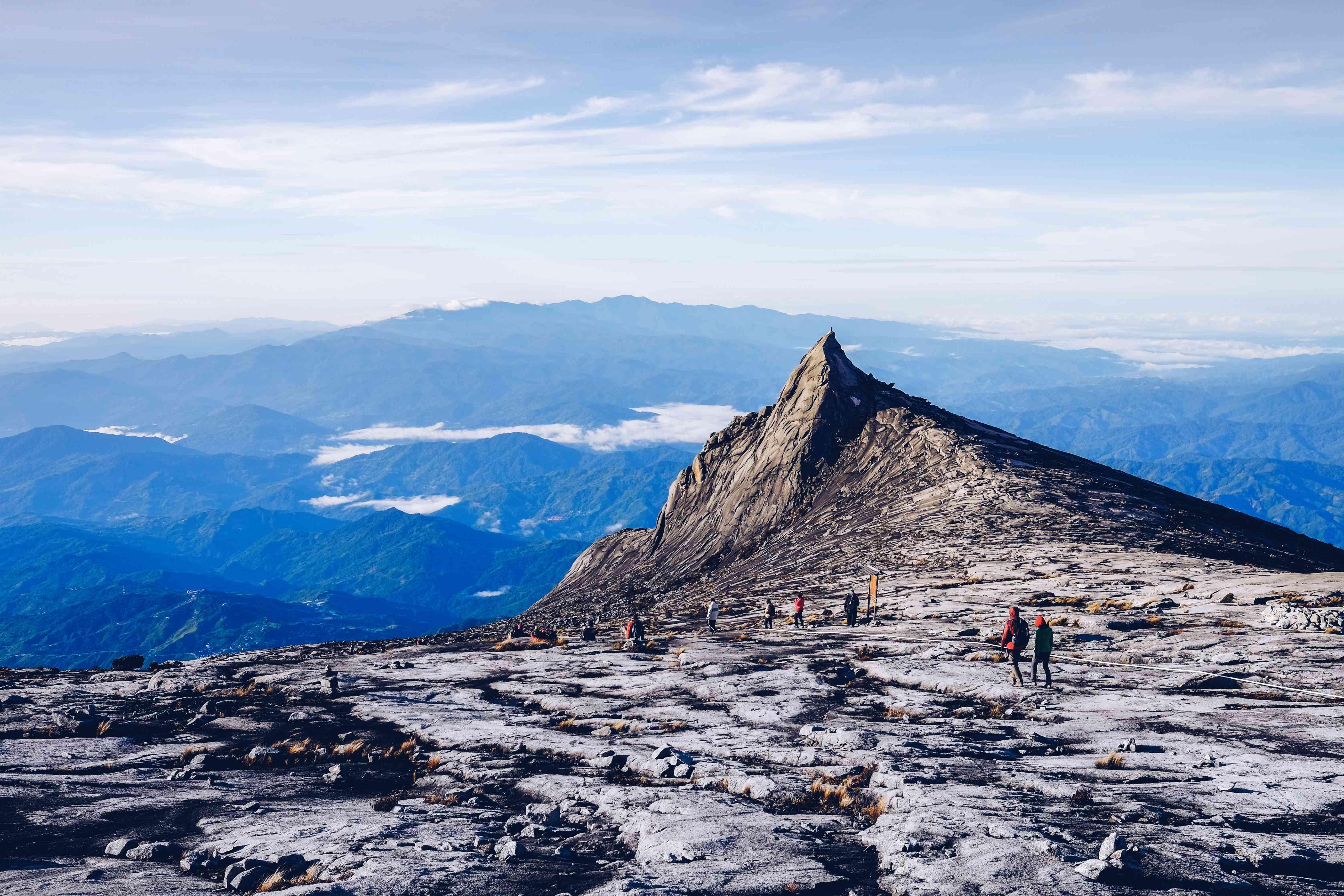 Hikers on Mount Kinabalu in Borneo