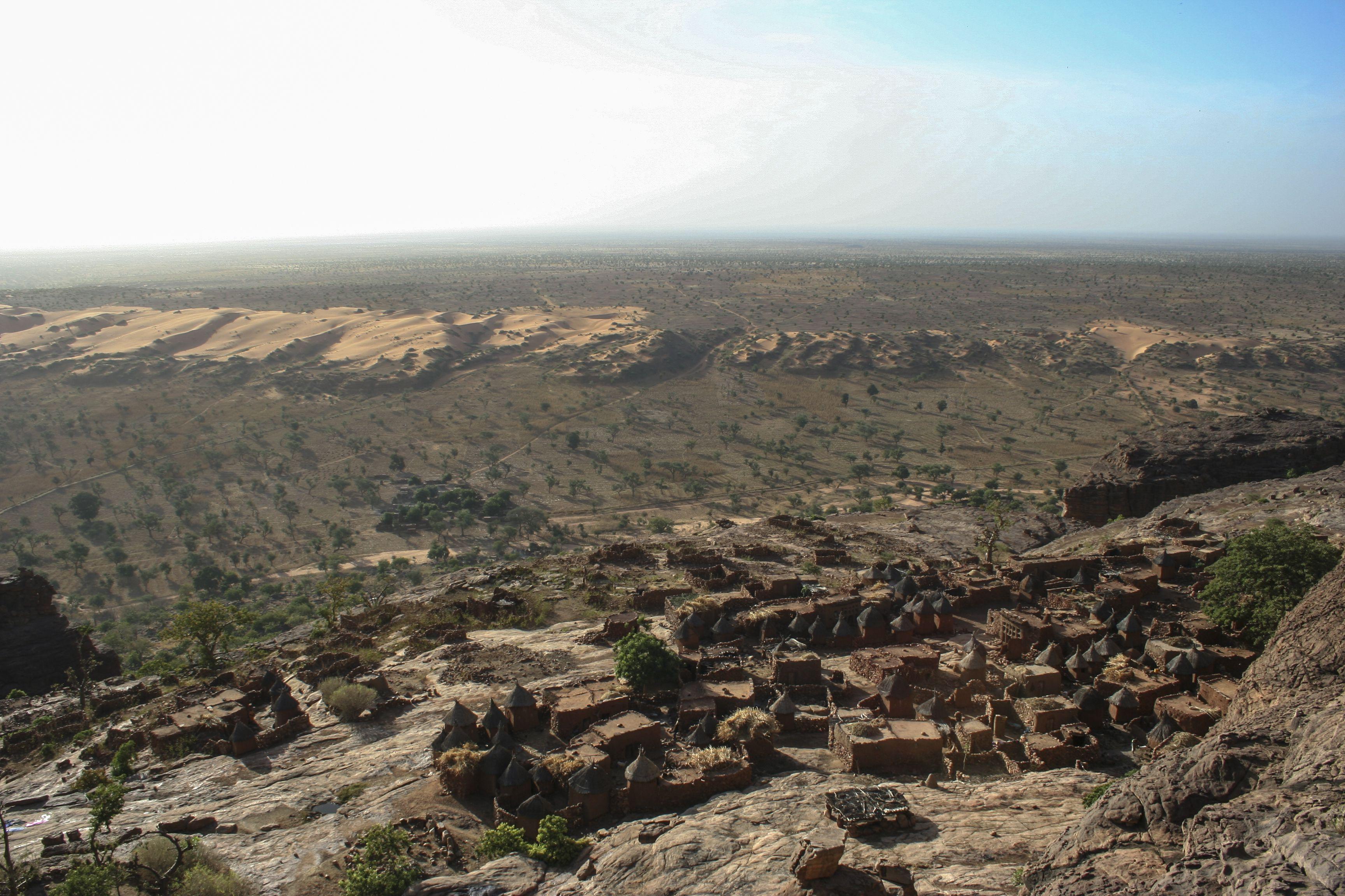 Dogon village from the top of the Bandiagara Escarpment