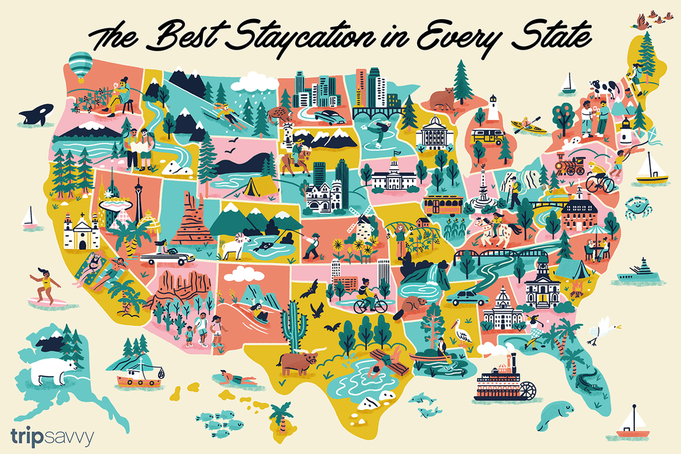 Illustration of all 50 states with attractions from each one