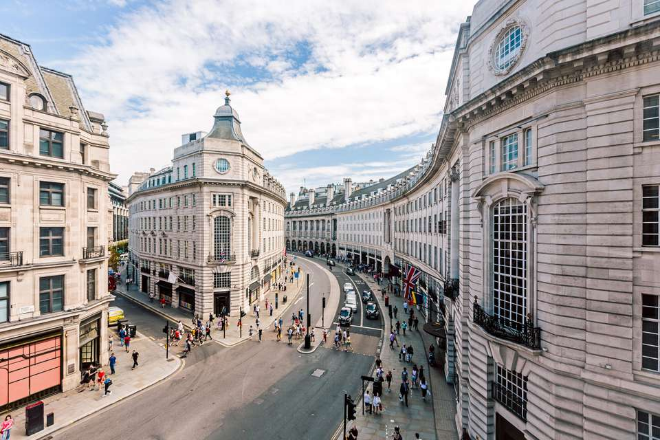 Wide angle view of Regent Street seen from above, London, UK