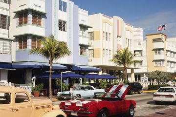 cars parked on ocean drive Miami Beach