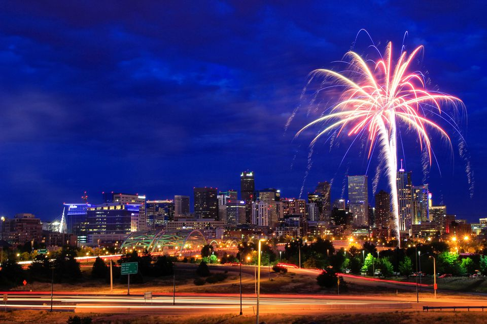 Fireworks on the 4th of July in Denver, Colorado