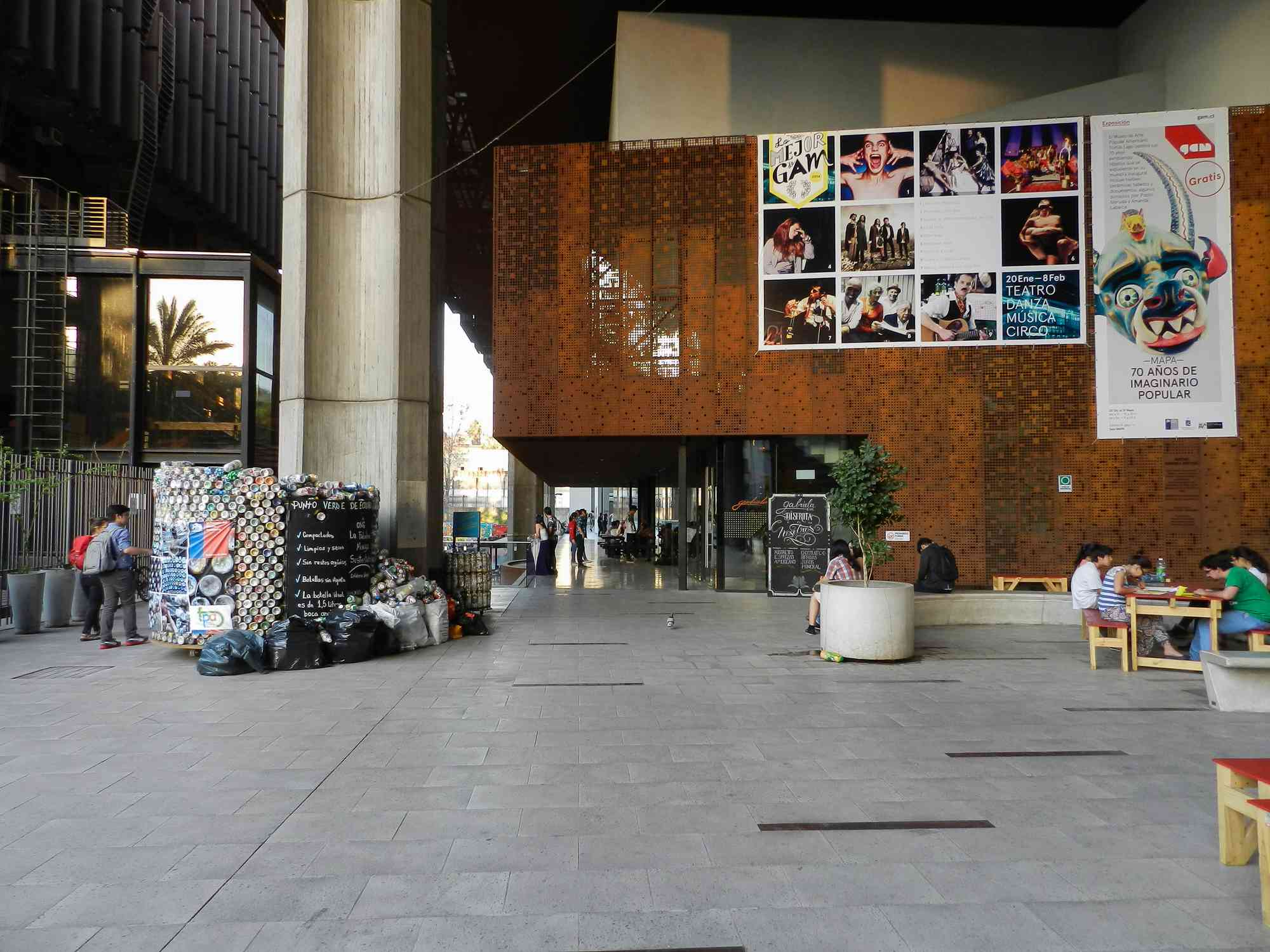 Santiago, Chile - January 13, 2015: Gabriela Mistral Cultural Center (GAM), serves as a meeting point and interaction of the public with art. It was named in honor of the Chilean poet who won a Nobel.
