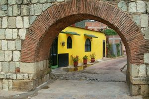 Yellow house in Oaxaca, Mexico