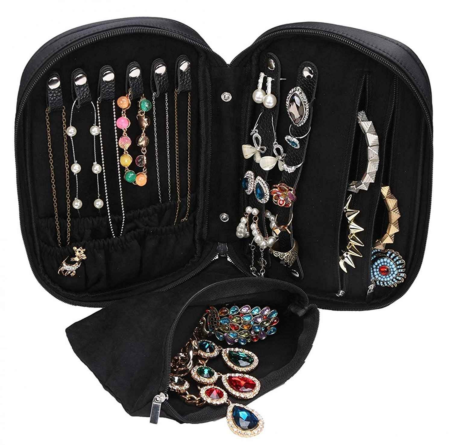 Wodison Zipper Carry On Travel Jewelry Case Organizer With Removable Pouch