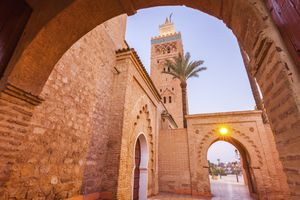 Low angle view of Koutoubia Mosque in Marrakesh, Morocco