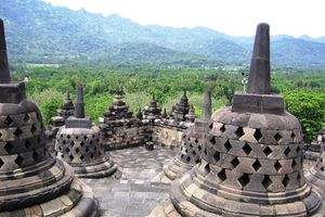 View from Borobudur's upper levels