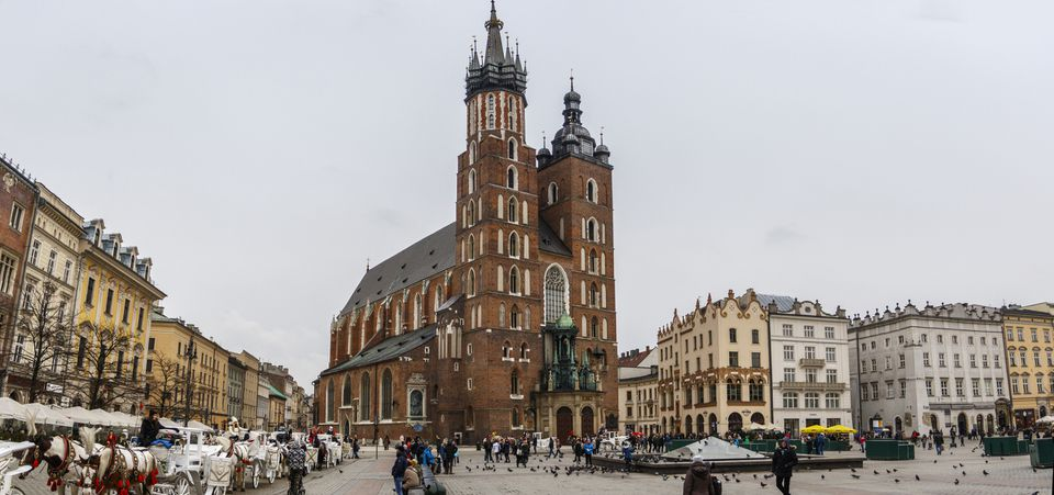 Krakow Main Market Square with St. Mary's Basilica