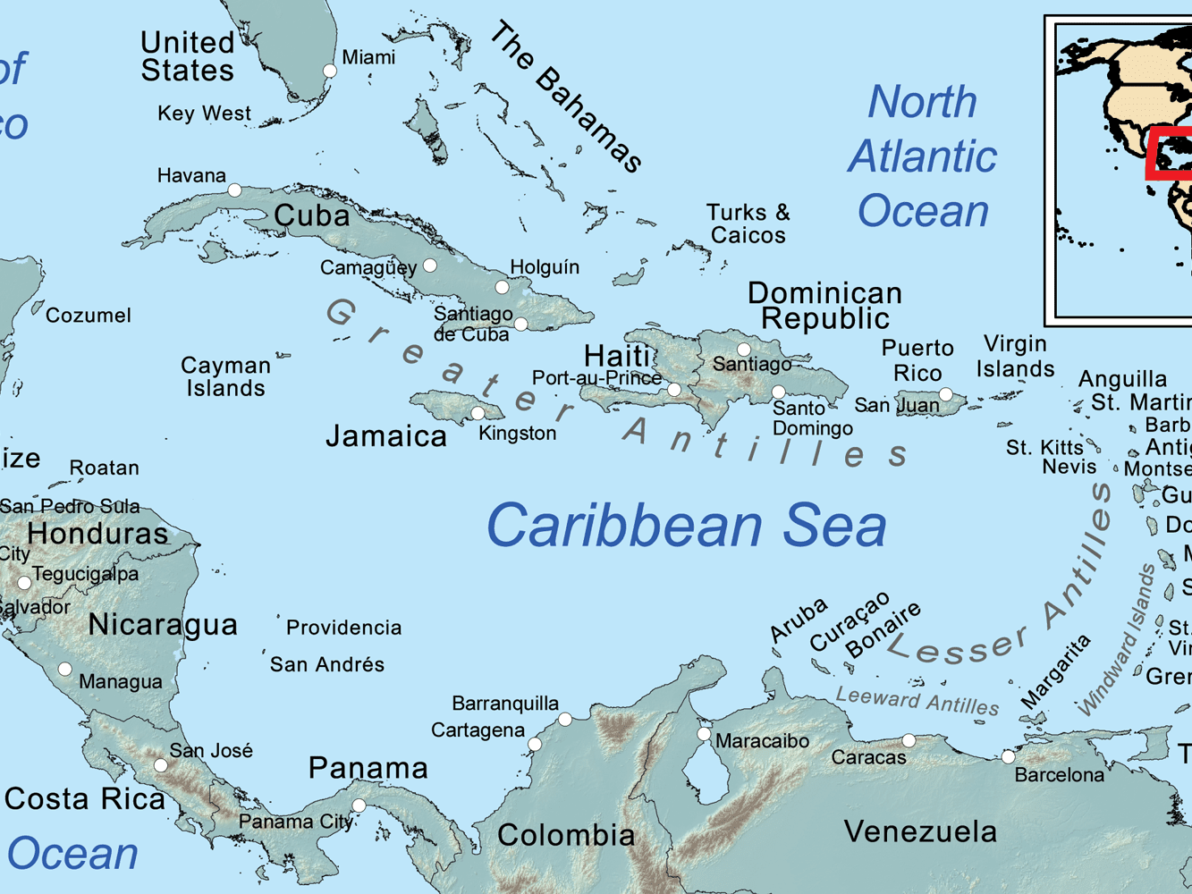 Picture of: Comprehensive Map Of The Caribbean Sea And Islands