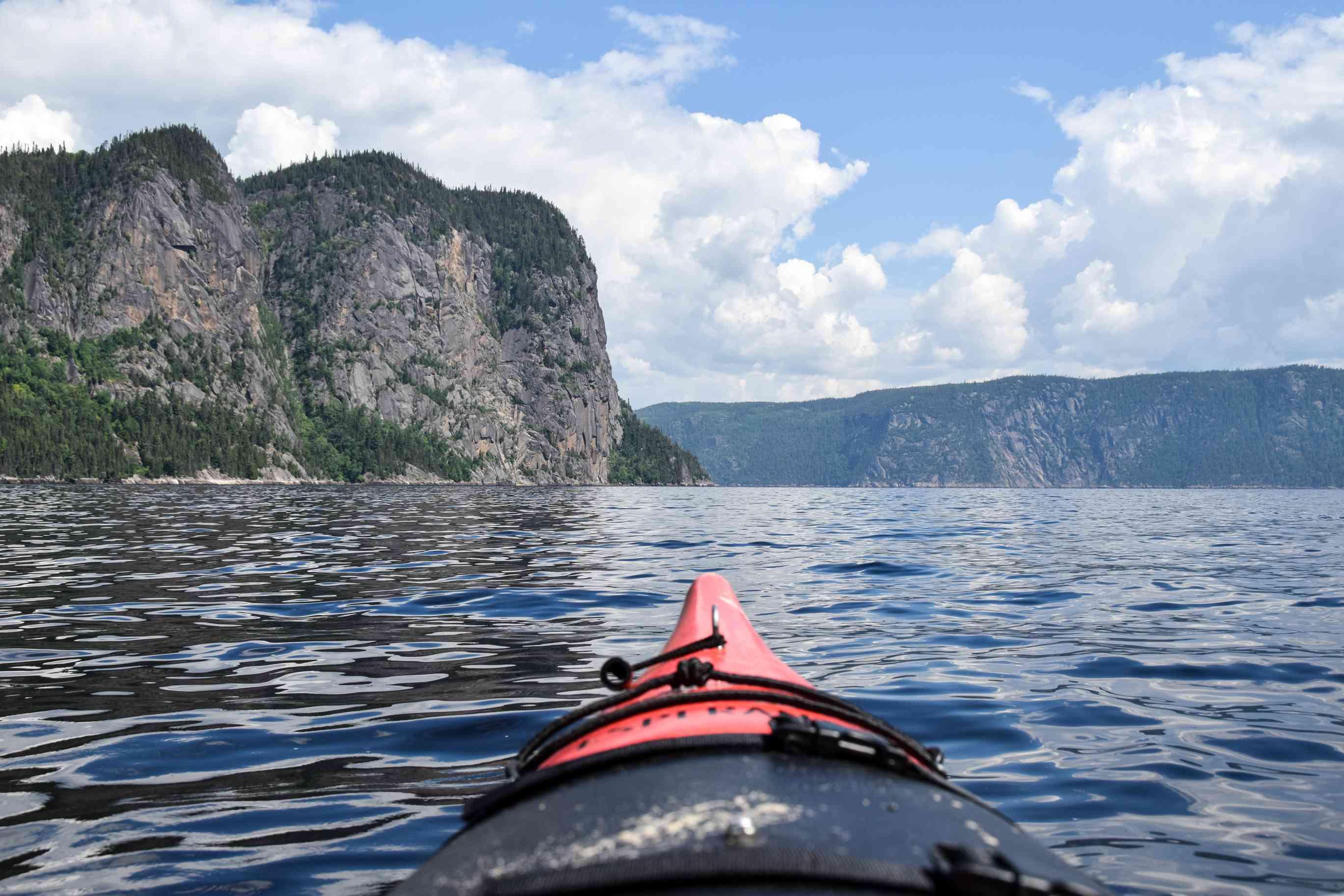 A kayak floating through Saguenay Fjord