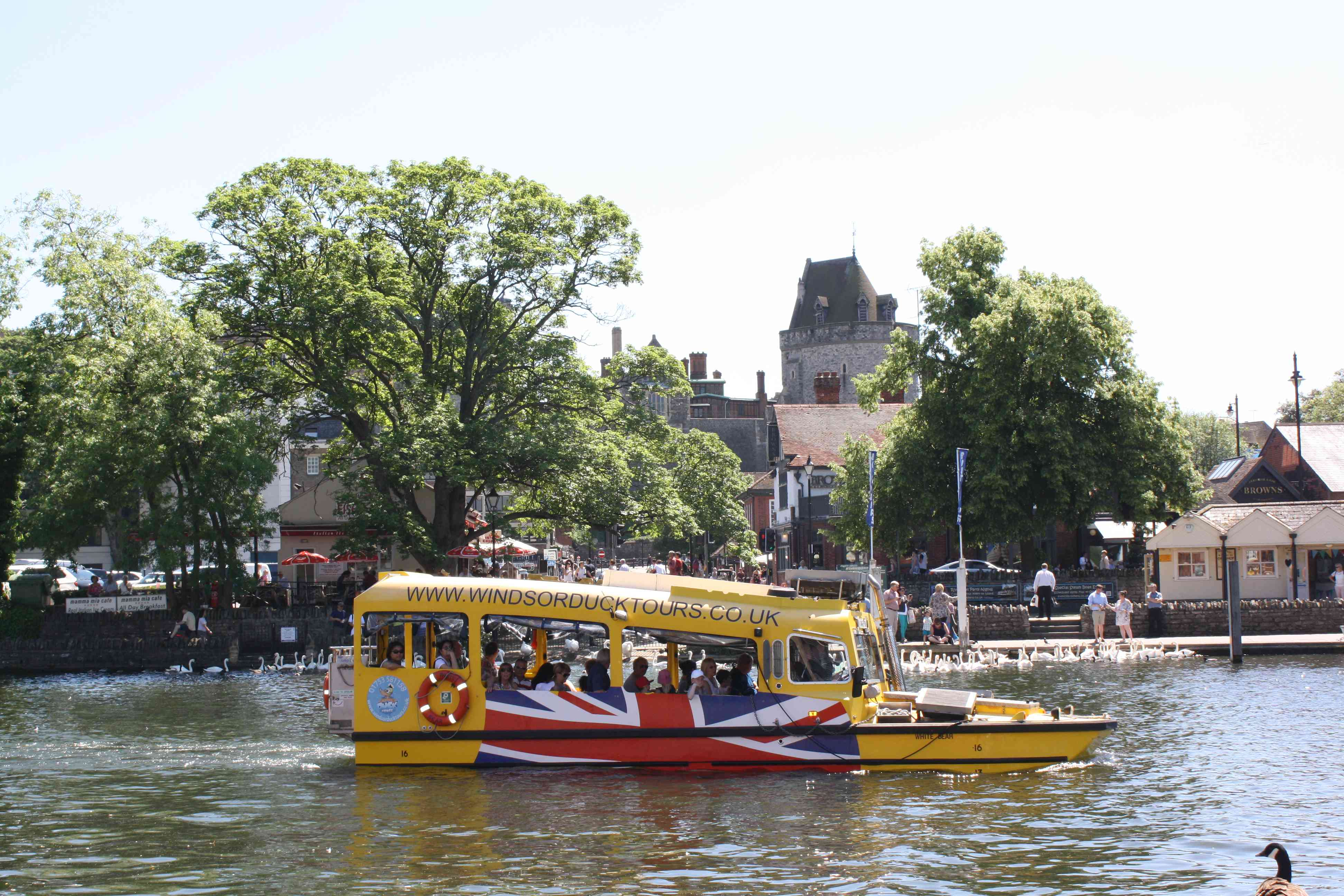 Yellow duck boat in the River Thames