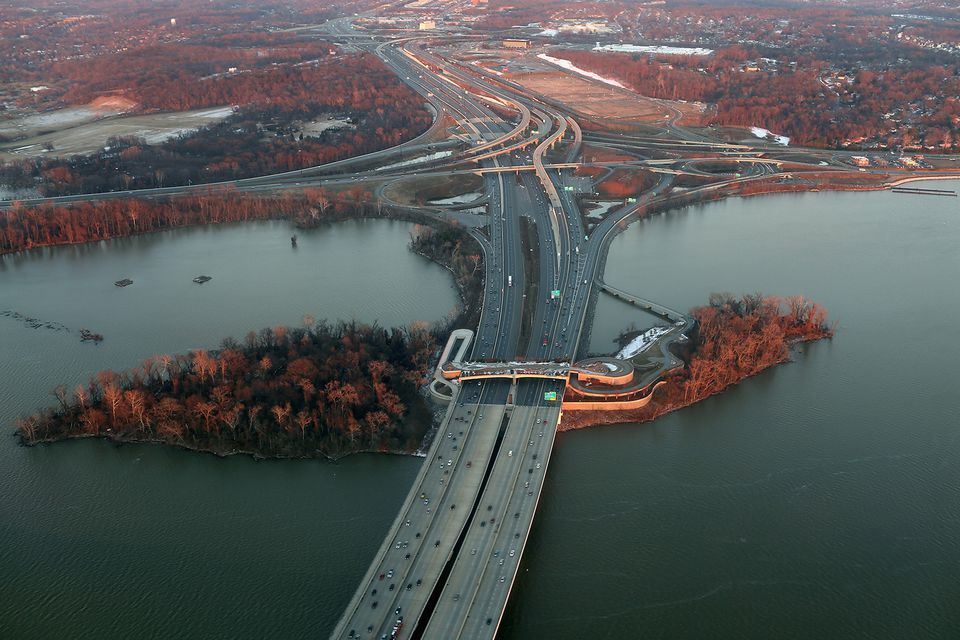 Aerial view of the Woodrow Wilson Bridge