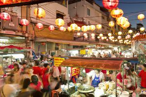 Thai festival in the street with vendors and crowds