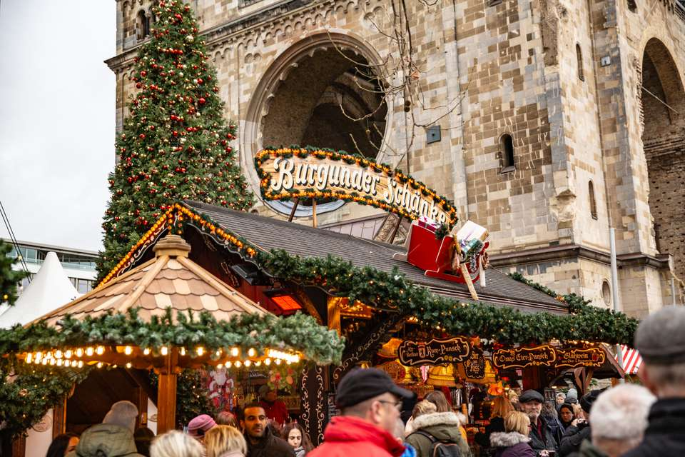 A festively decorated stall at a Berlin Christmas Market