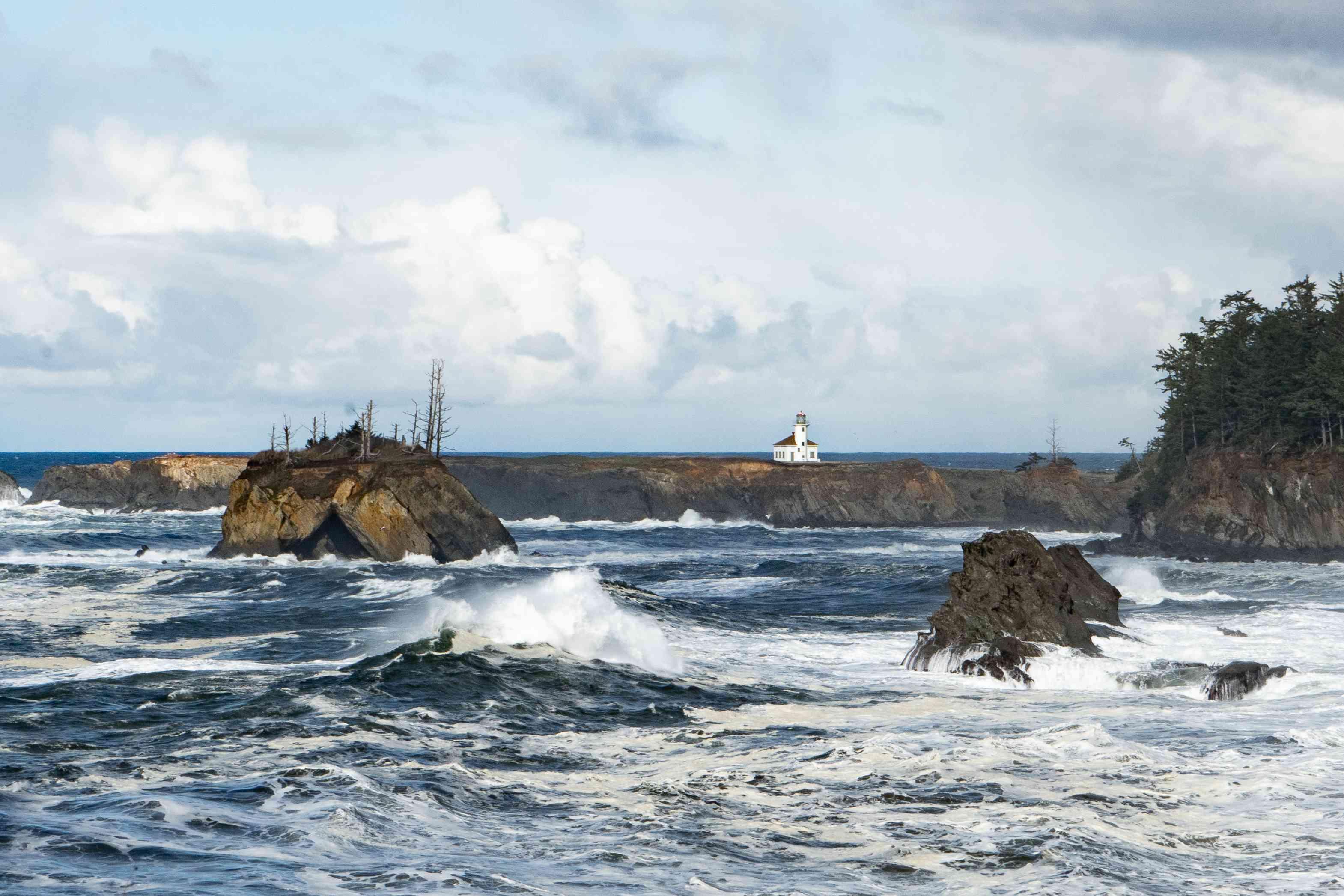 Cape Arago Lighthouse on the coast