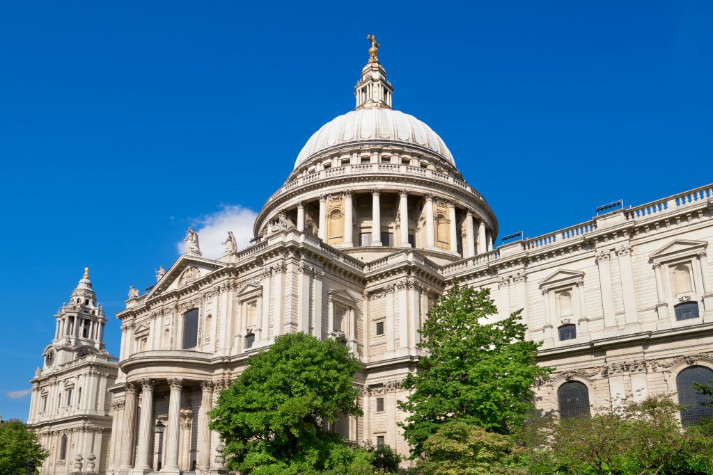 Low angle shot of St. Paul's Cathedral in London