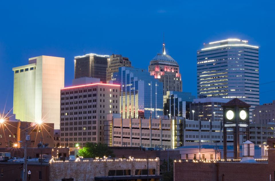 The Oklahoma City skyline at dusk