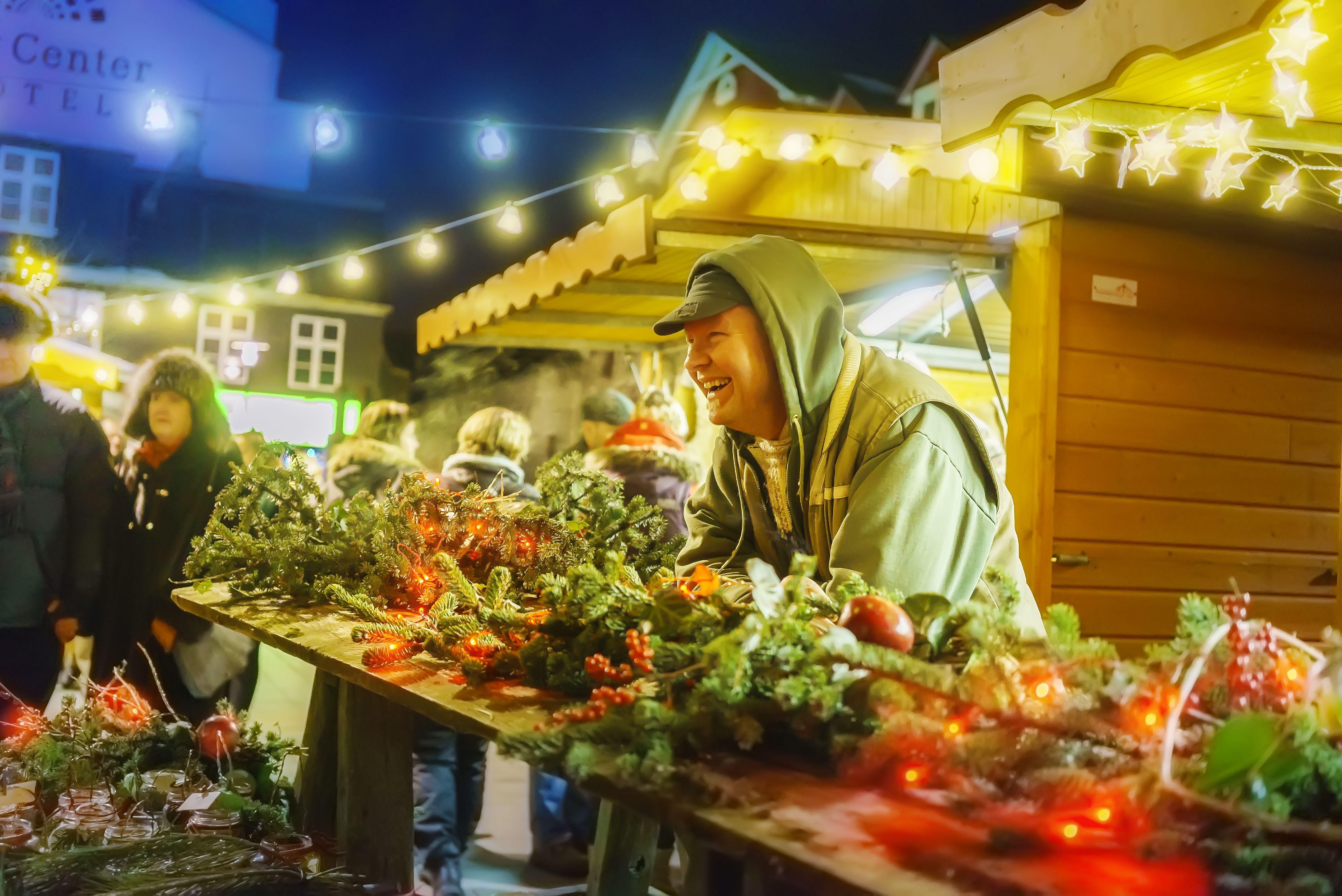 Vendor selling christmas wreaths, Reykjavik, Iceland
