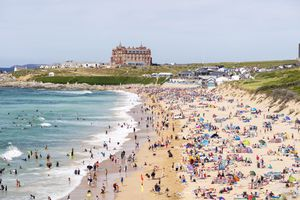 Summer crowds on Fistral Beach, Newquay