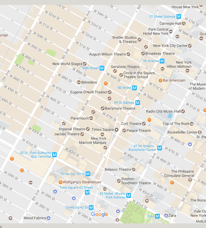 Subway Map To Rockefeller.New York City Times Square Neighborhood Map