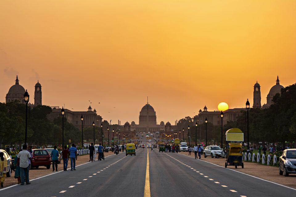 Sunset at Rashtrapati Bhavan, India.