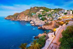 Rocky Coastline with Promenade in Acapulco Mexico