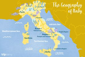 A map of Italy also marking major cities and landscapes