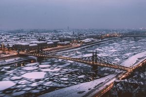 Aerial View Of Liberty Bridge In Budapest During Winter