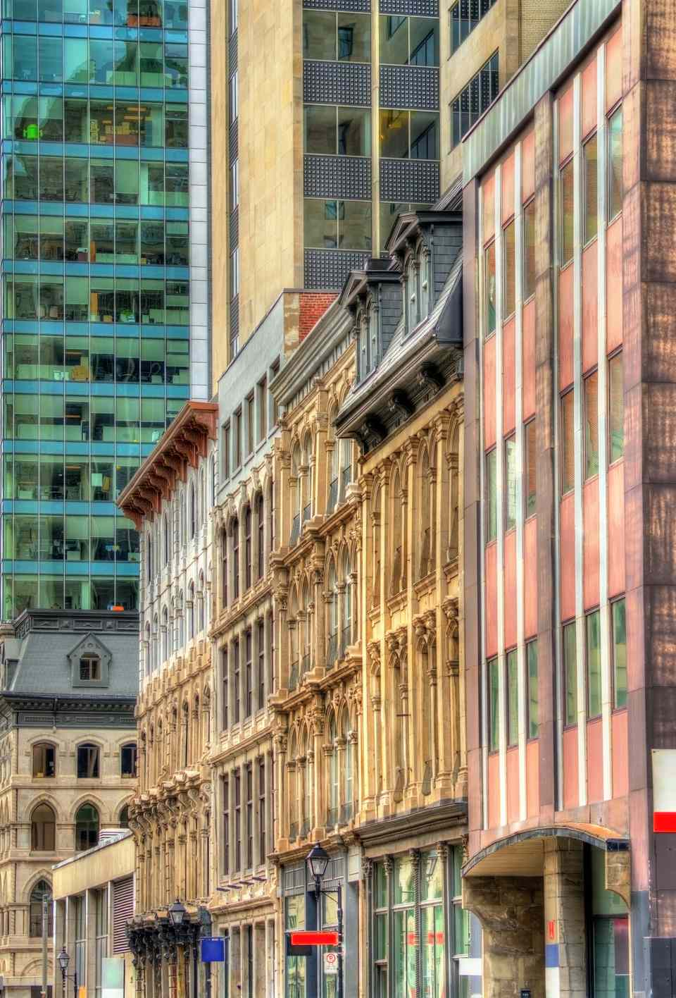 Buildings on Notre-Dame street in Old Montreal, Canada