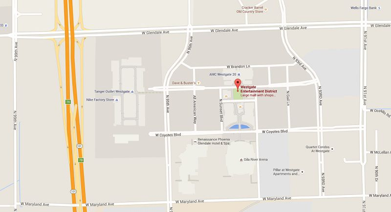 Map showing Westgate Entertainment District in Glendale AZ